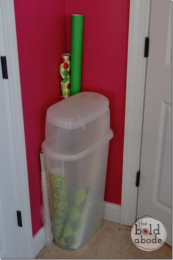 Gift Wrap Hiding Behind the Door