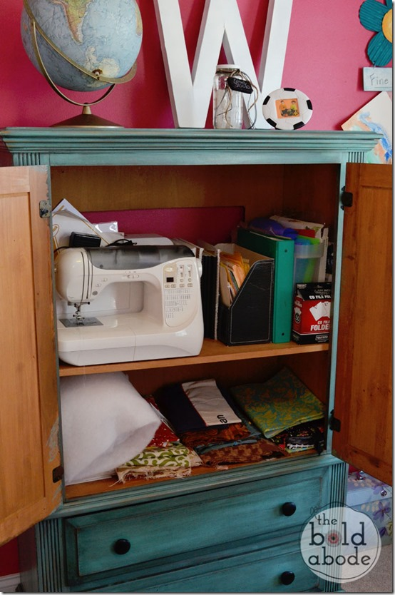 Inside the Sewing Armoire