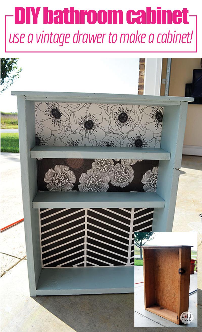 DIY   Bathroom   Organization   Not enough storage in your bathroom?  Make your own DIY Bathroom Cabinet from a Vintage Drawer.
