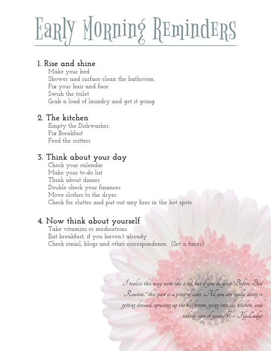 graphic relating to Flylady Printable called Becoming Well prepared: Early morning Reminders Printable