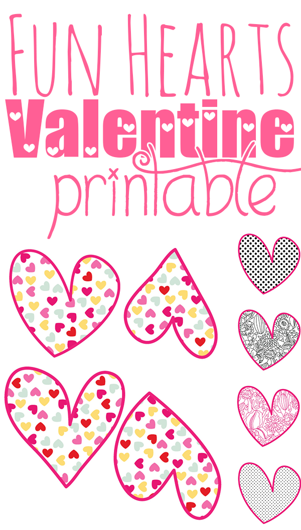 Need some cool Valentines? This Fun Hearts Printable has 4 hand-drawn hearts in 5 different patterns for a super cute, super fun Valentine's Day!