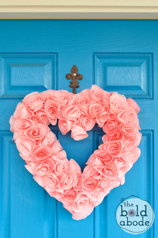 How pretty is this Coffee Filter Heart Wreath?  What a gorgeous way to celebrate Valentine's Day!