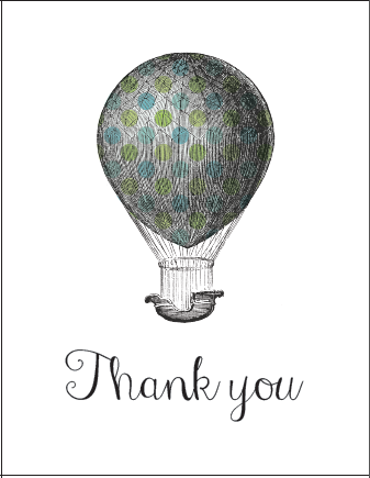 Vintage Hot Air Balloon Thank You Printables In 3 Patterns