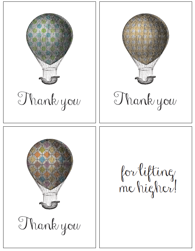 Vintage Hot Air Balloon Thank You Printables in 3 Fun Spring Patterns!  Send some snail mail and make some one's freaking day!