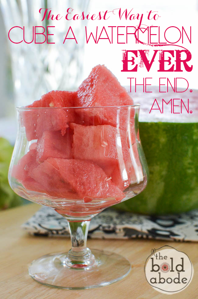 The EASIEST way to cube a watermelon!  So simple and fast!