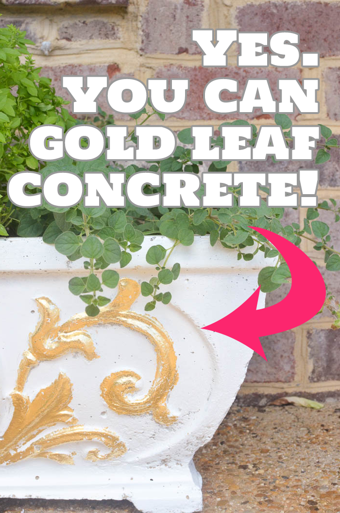 How to Gold Leaf Concrete Planters: Yes, You Can!