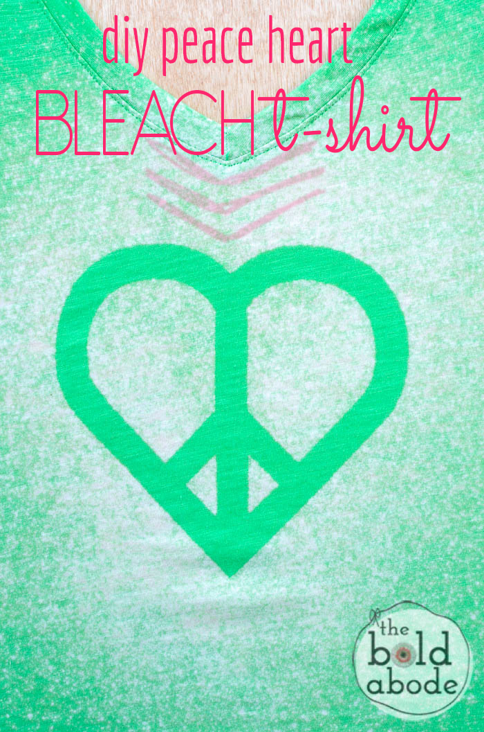 Super quick and super cute way to make a fun t-shirt design!  This DIY Peace Heart Bleat T-shirt is so neato!