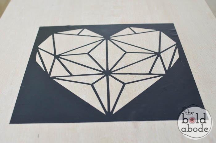 geometric heart wall art-2