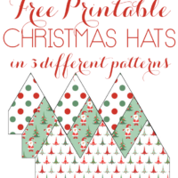 Free Printable Christmas Hats in 3 different fun patterns