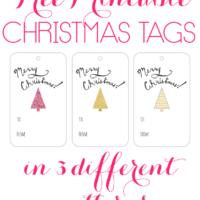 Free Printable Christmas Tags: Glitter Tree in 3 Different Patter