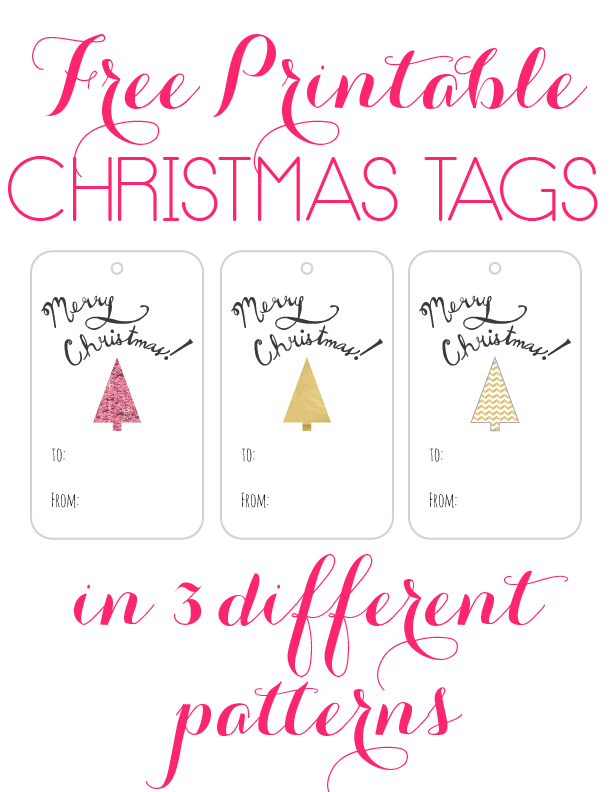 Grab these super cute free printable christmas tags for you presents! They come in 3 fun patterns: Pink Glitter, Gold Foil and Gold Foil Cheveron.