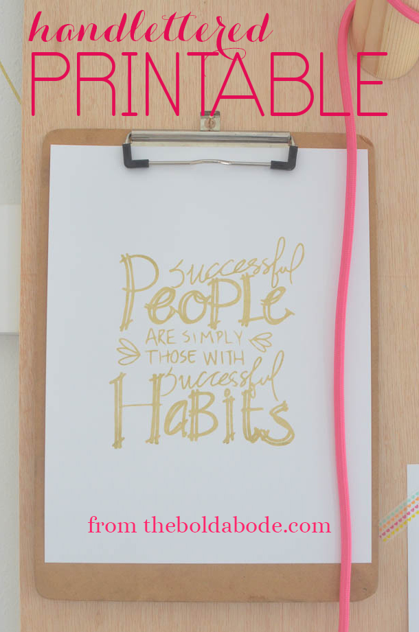 Hand-lettered Successful People Printable