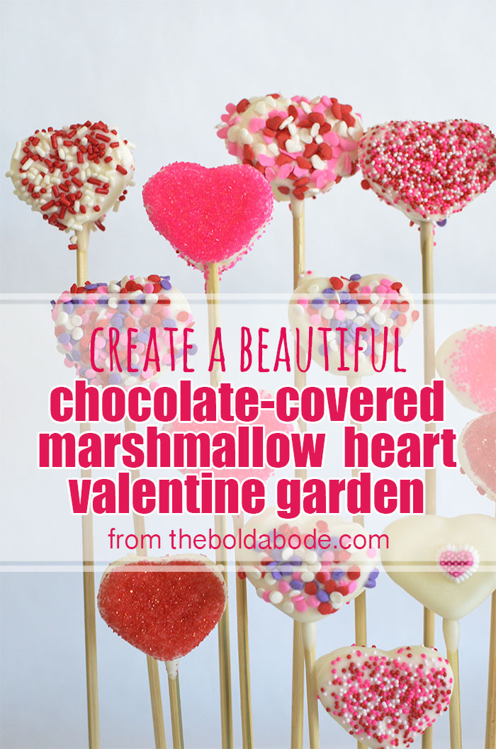 This  White Chocolate Covered Marshmallow Hearts Valentine Garden is so beautiful and would make a gorgeous display for Valentine's Day!  From  theboldabode.com