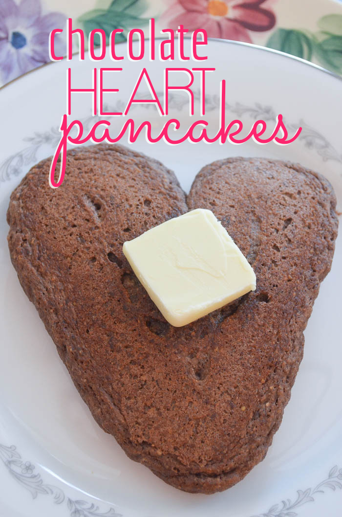 Chocolate Cake Heart Pancakes:  These are great to make for any special occasion... Valentines, Anniversaries, Saturdays.