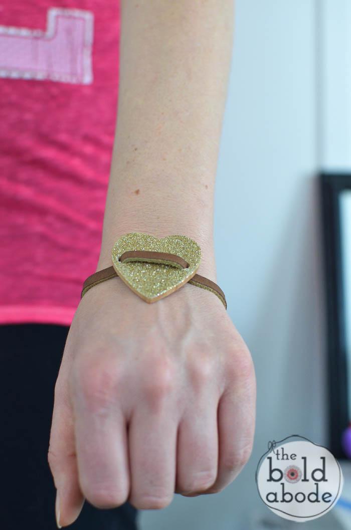 glitter heart leather bracelet-6