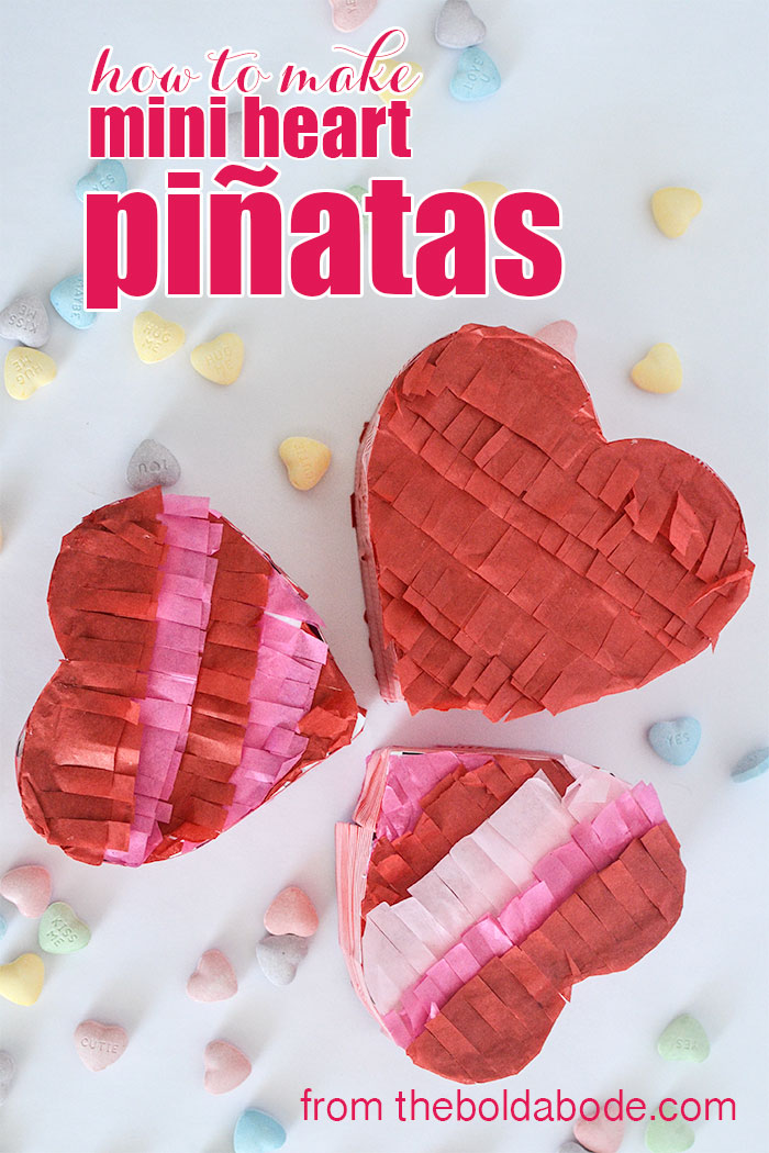 Make Valentine's Day special with these Mini Heart Pinjatas. Easy to make and fun to fill. See how to make them in this post.