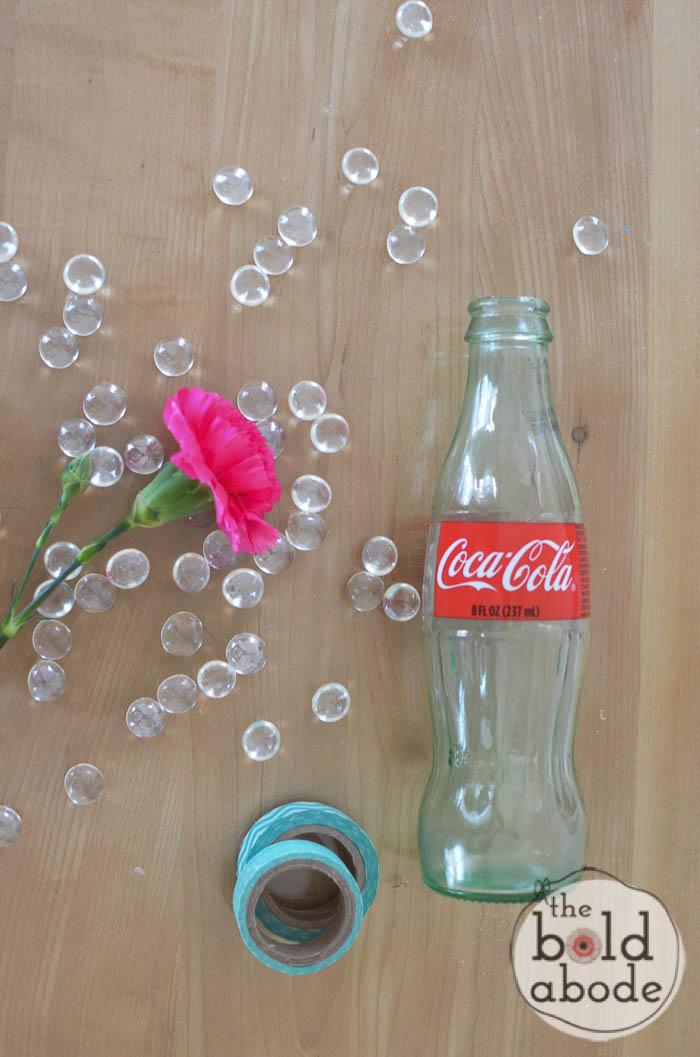 simple bud vase from a glass coke bottle