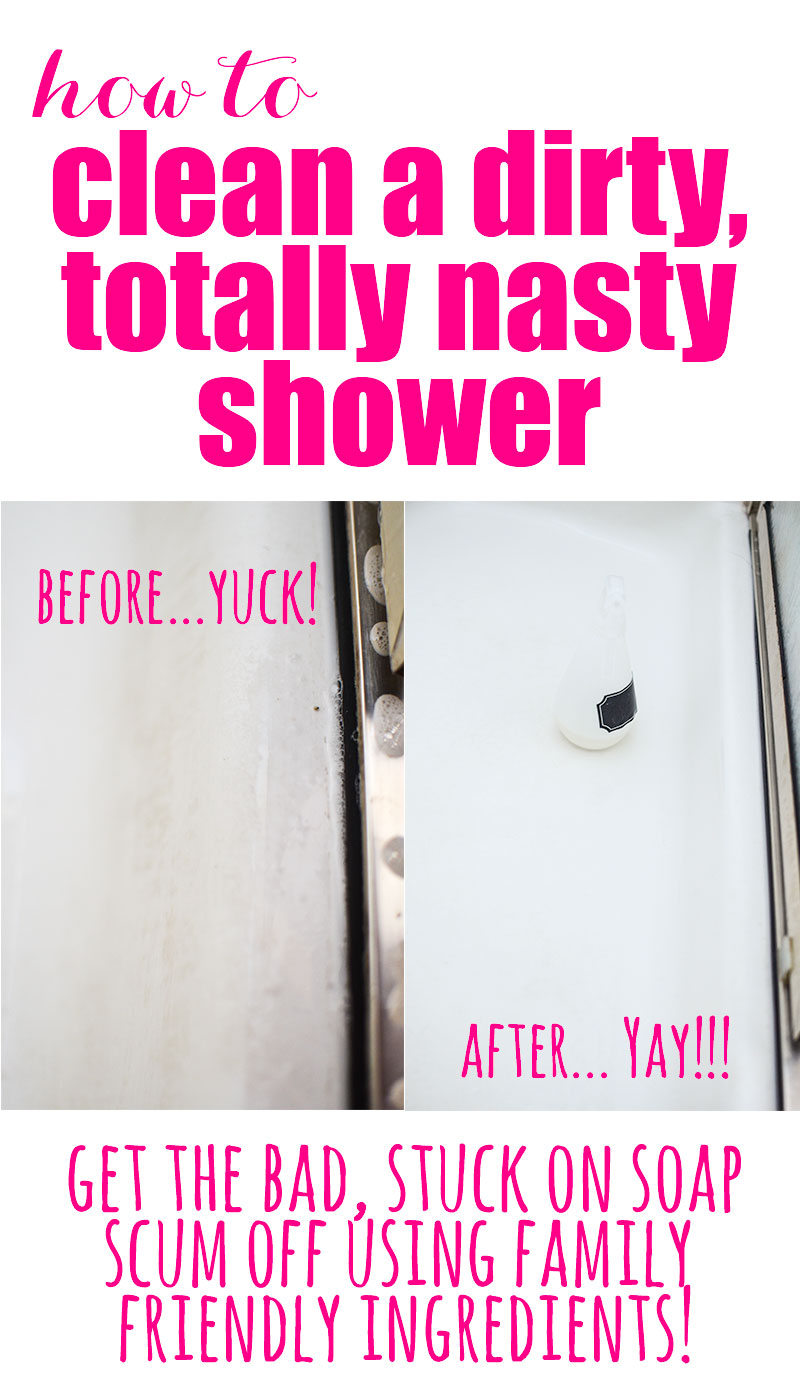 Before and After Dirty/clean shower
