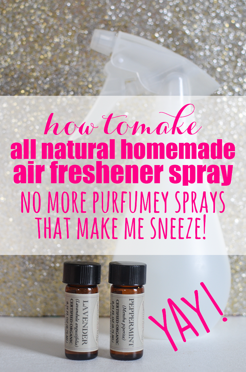 Store bought, perfumey air freshener sprays always make me sneeze and give me a headache!  But when I made this amazing All Natural Homemade Air Freshener Spray out and started spraying it all over the house, I thought I had died and gone to olfactory heaven!  No sneezes and no headaches.  It's a miracle!