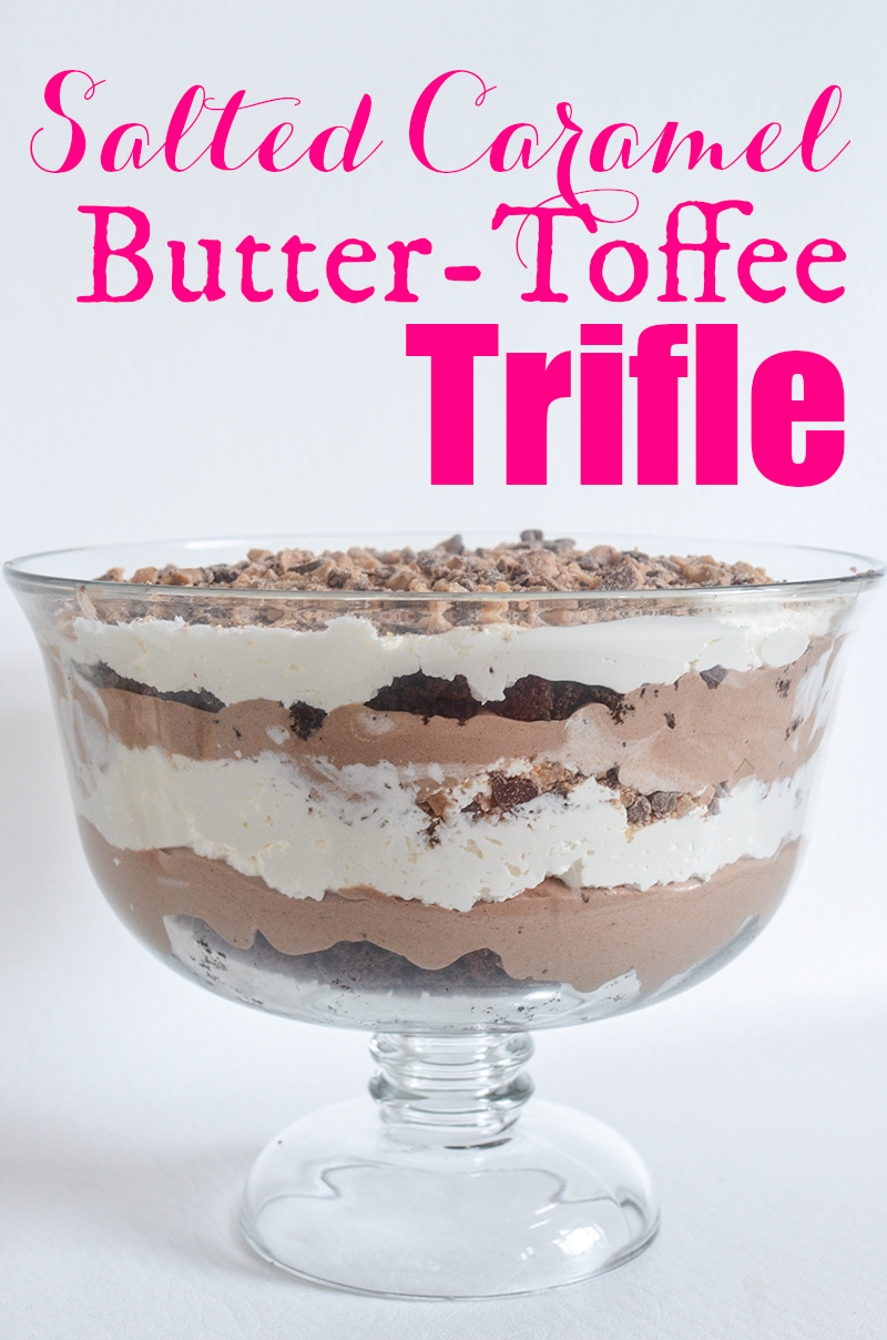 This Salted Caramel Butter Toffee Trifle is probably one of the most delicious and easiest desserts I've ever made. I could sit down with a giant-in-the-sky spoon and a dump truck filled with this trifle at a world-wide trifle eating contest and win first, second and third place.