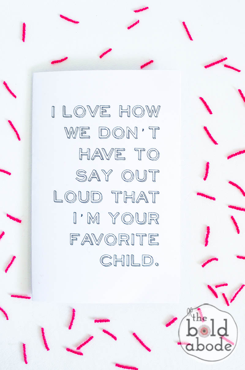 favorite child printable mother 39 s day card. Black Bedroom Furniture Sets. Home Design Ideas