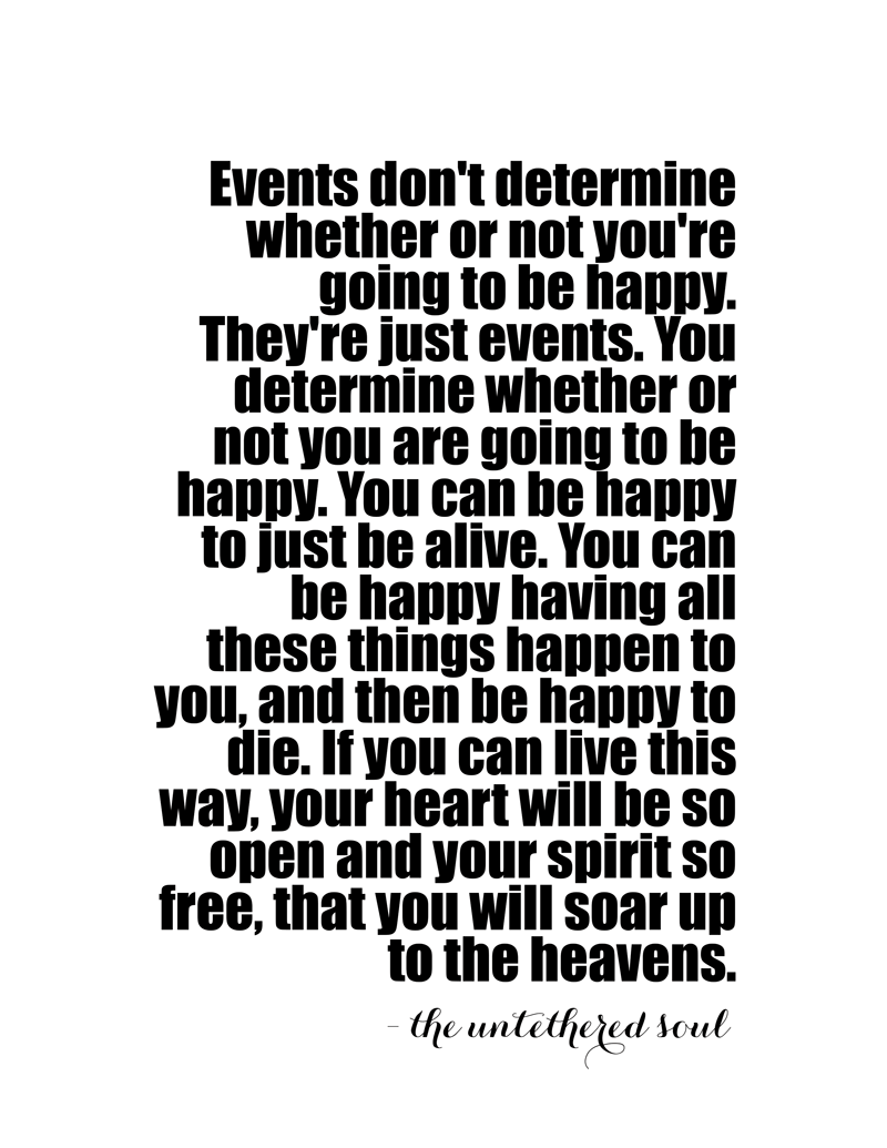 You can be happy. You can decide right this moment to be happy. Just let go and soar!
