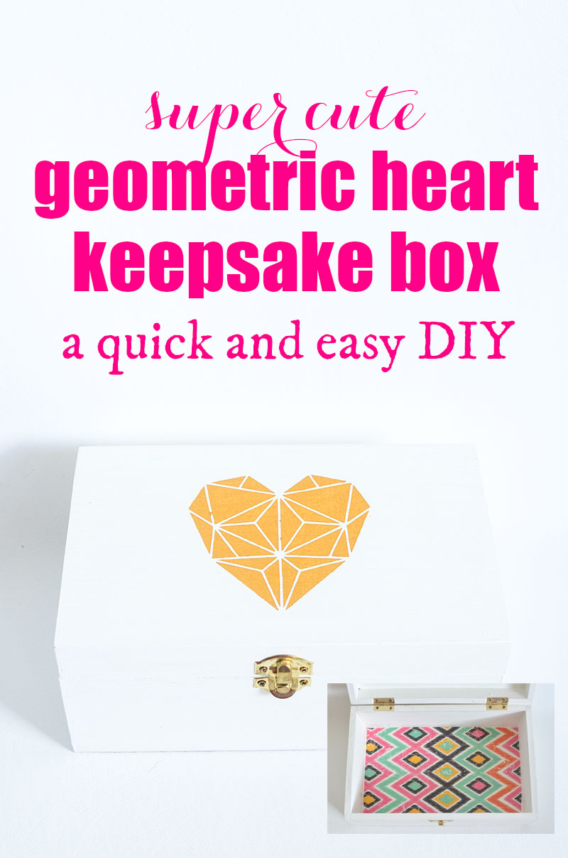 This super cute Geometric Heart Keepsake Box is a quick and easy DIY that you can make in an afternoon. You can download the free geometric heart printable from theboldabode.com.