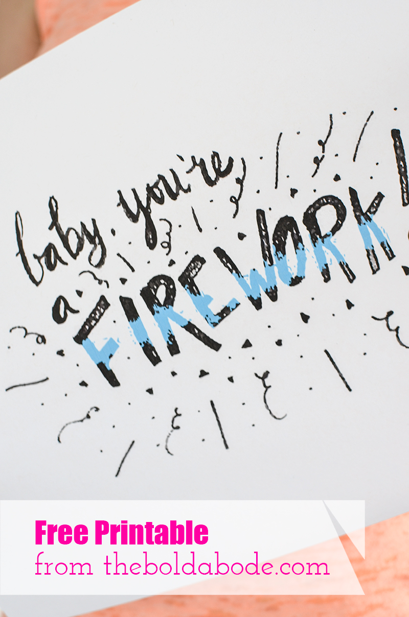 Celebrate you with this Baby, You're a Firework! Free Printable from theboldabode.com