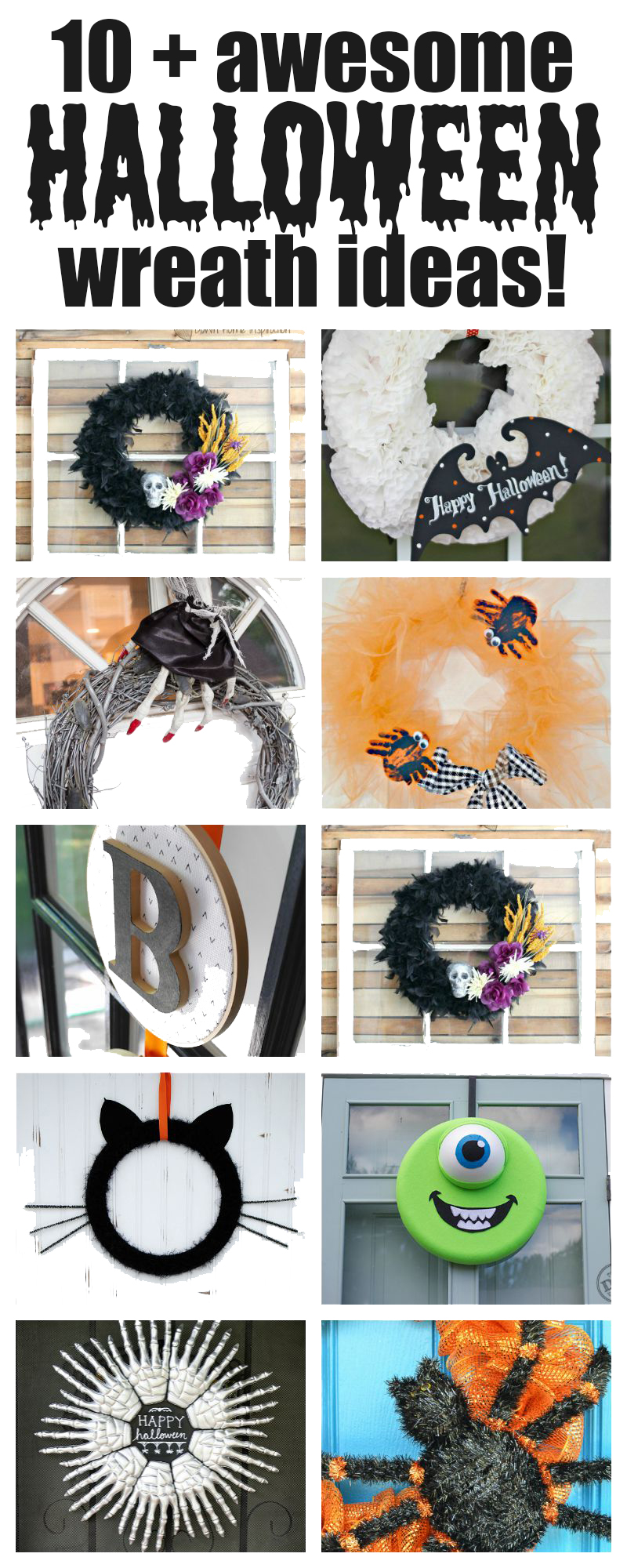Over 10 awesome halloween wreaths to get you in the mood for the upcoming scare fest! Grab some liquid energy and get some great ideas for Halloween!