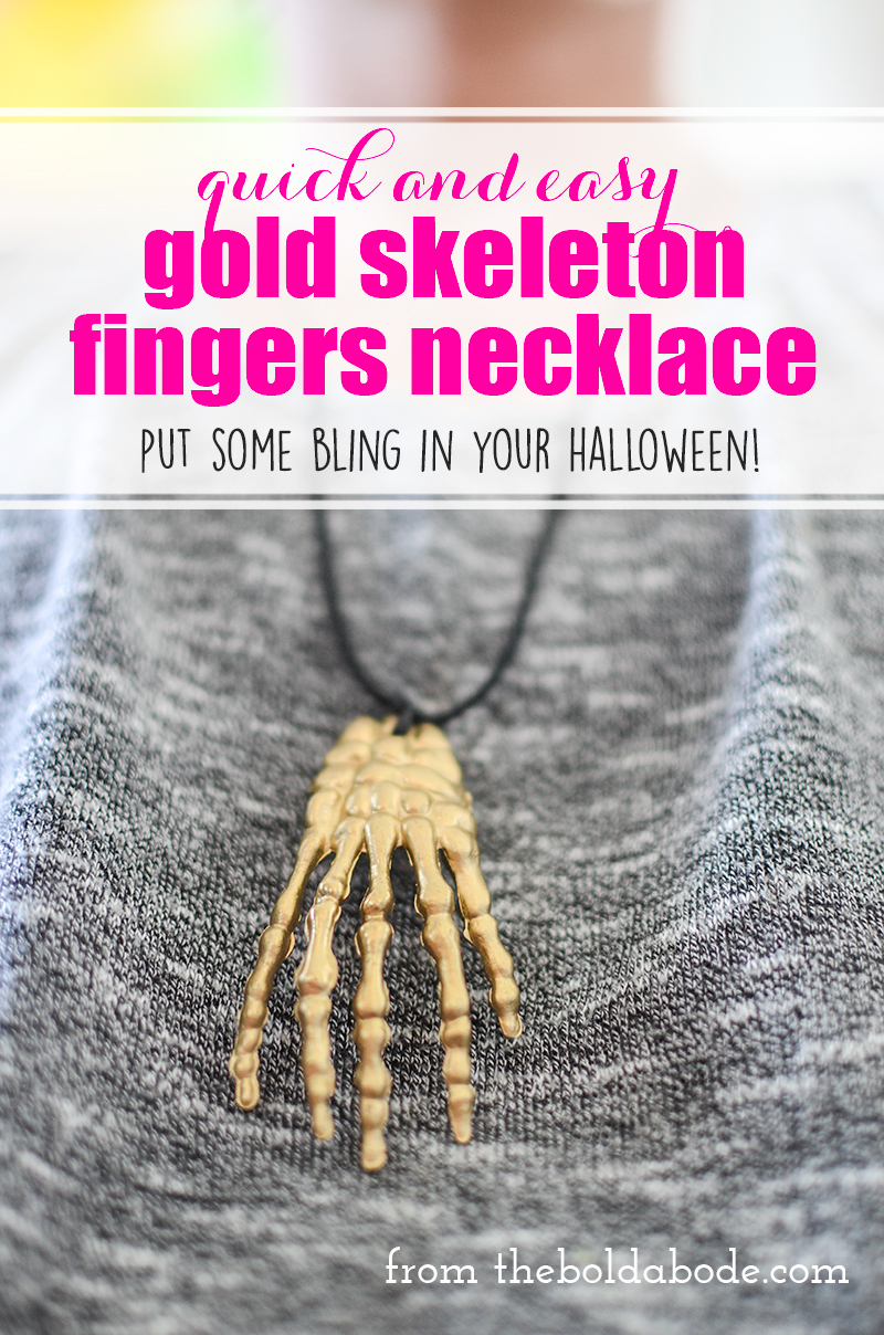 Quick and easy Gold Skeleton Fingers Necklace. Put some bling into your halloween!