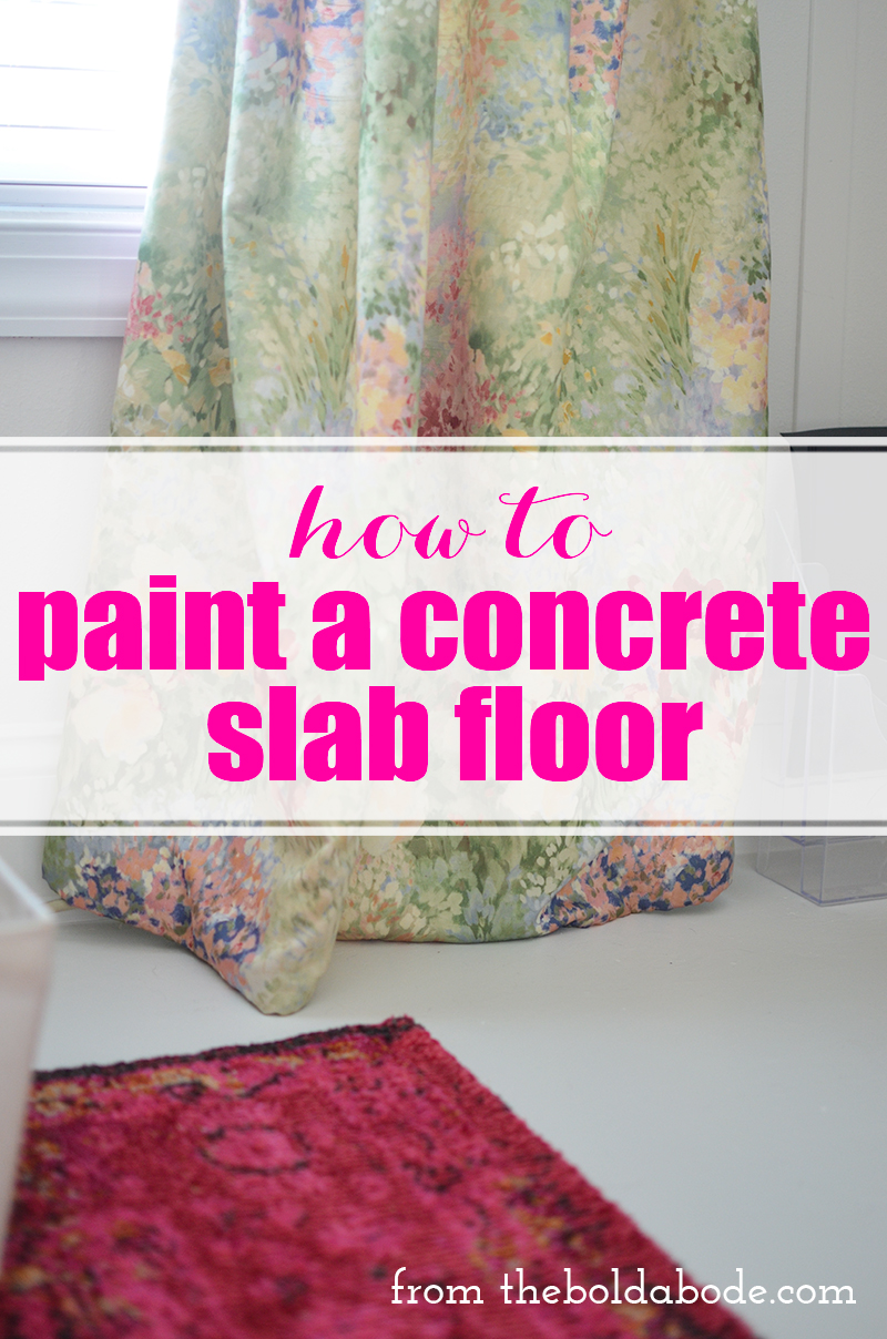 How to Paint a Concrete Slab Floor. It's a pretty easy process and looks amazing when it's done!