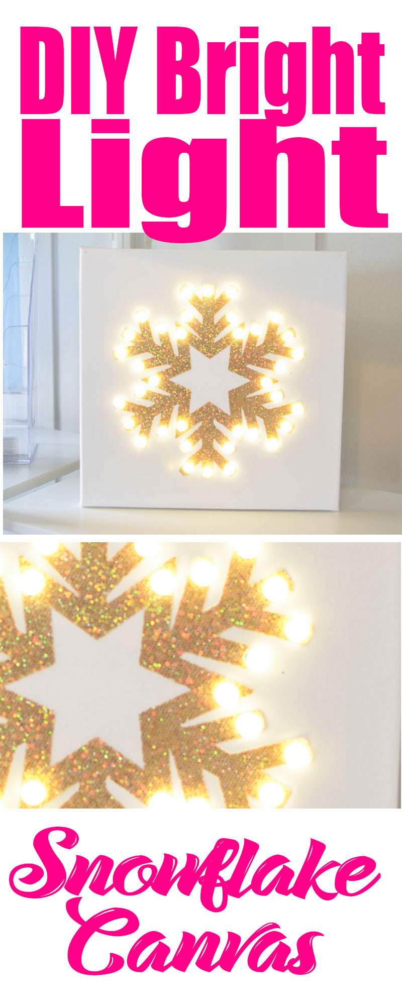 DIY Bright Light Snowflake Canvas: Make this simple lighted canvas for practically nothing! #budgetchristmasdecor #decoratingonabudget #christams #christmascrafts #snowflake #diy