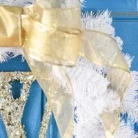 DIY Glittery Monogram White and Gold Wreath