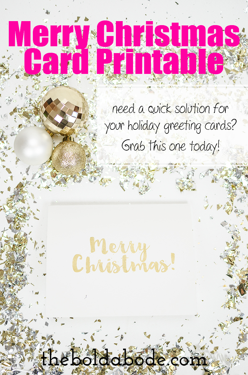 """Gold Foil"" Merry Christmas Card Printable - need a quick solution for your holiday greeting cards? Grab this one today!"
