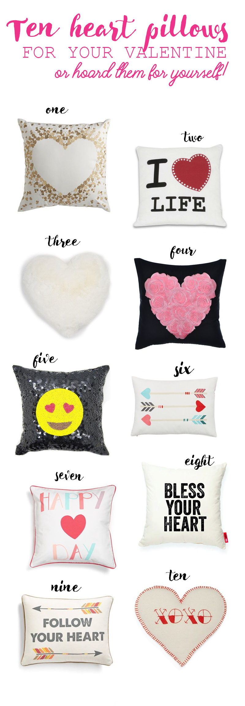 Ten heart pillows for you Valentine ! Or just hoard them for yourself...