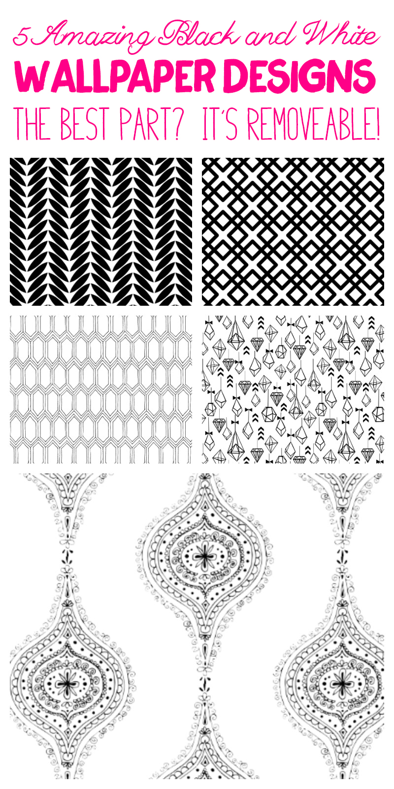 5 Amazing Black and White Wallpaper Designs - this is the best wallpaper! It's removable!