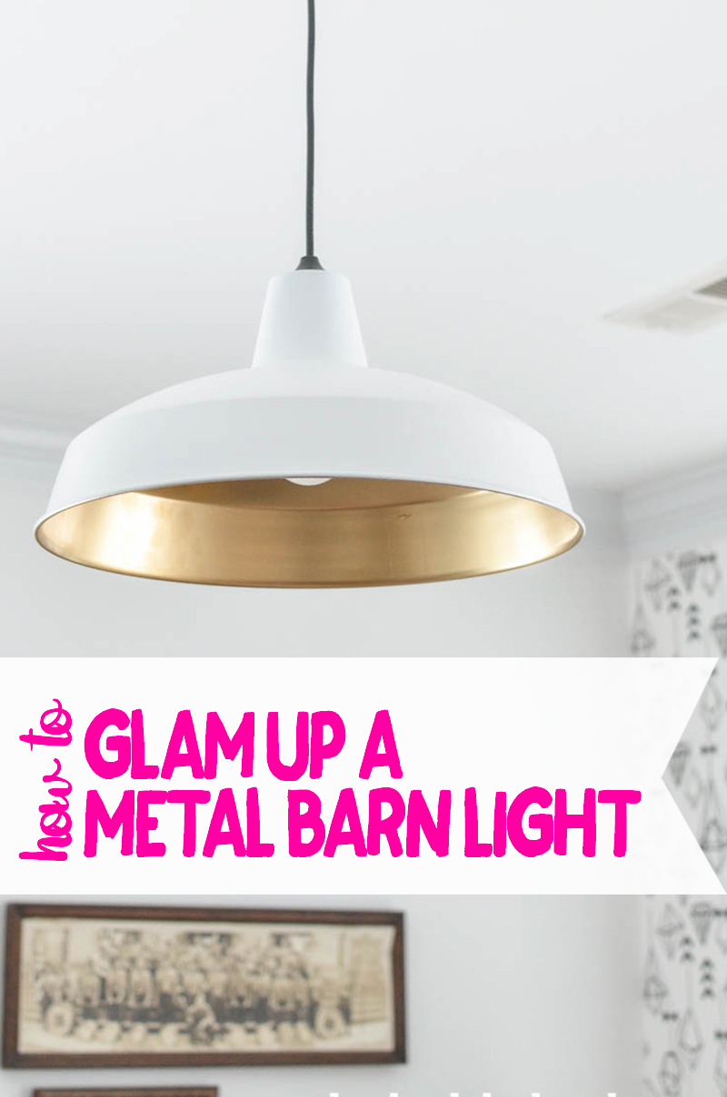How to glam up a $30 metal barn light.  It's easy and so pretty!
