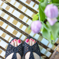 DIY Wooden Doormat with Gold Accents