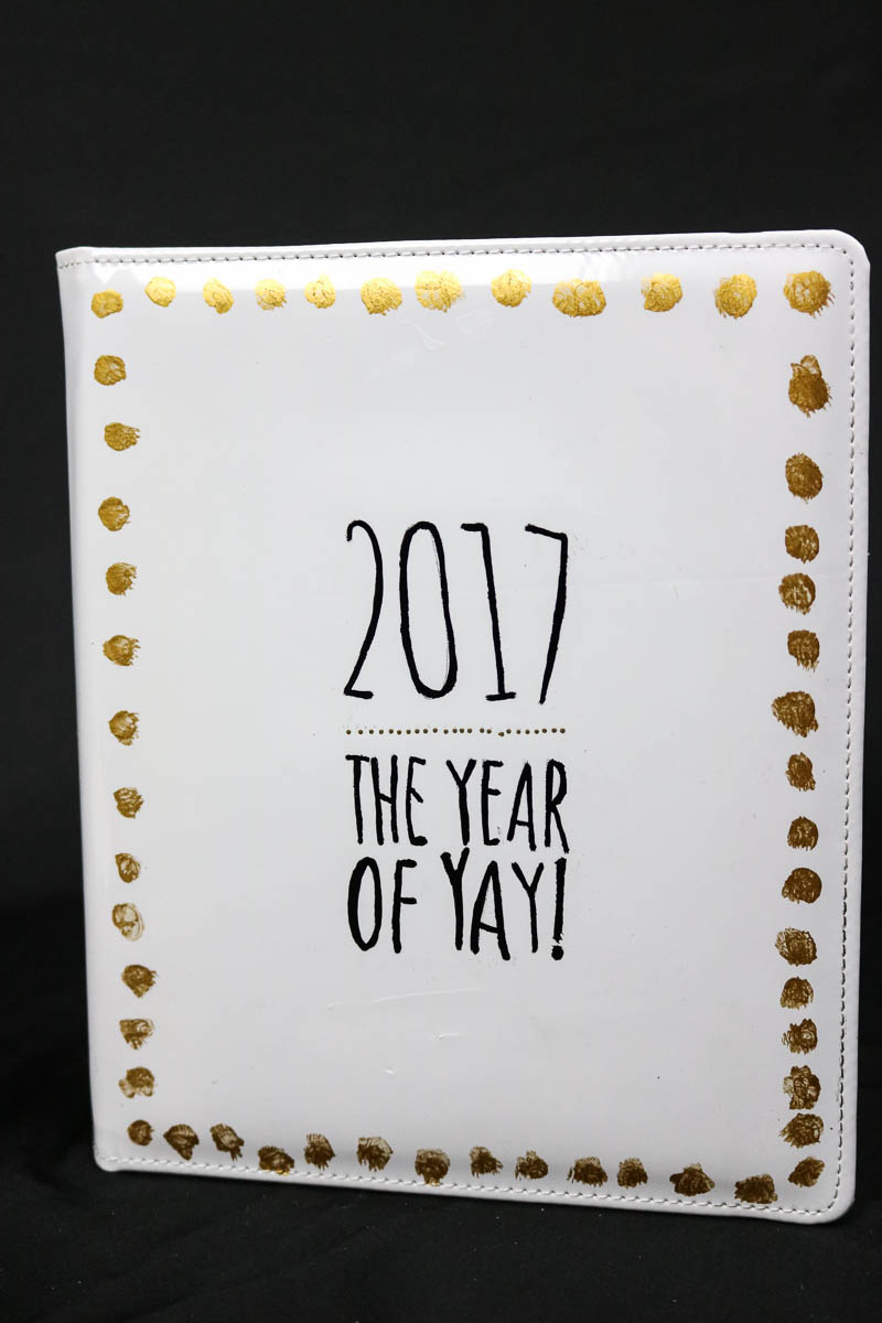 It's time to start the new year! Here is a fun way to celebrate and learn how to embellish a plain journal for noting down all the good things that happen!