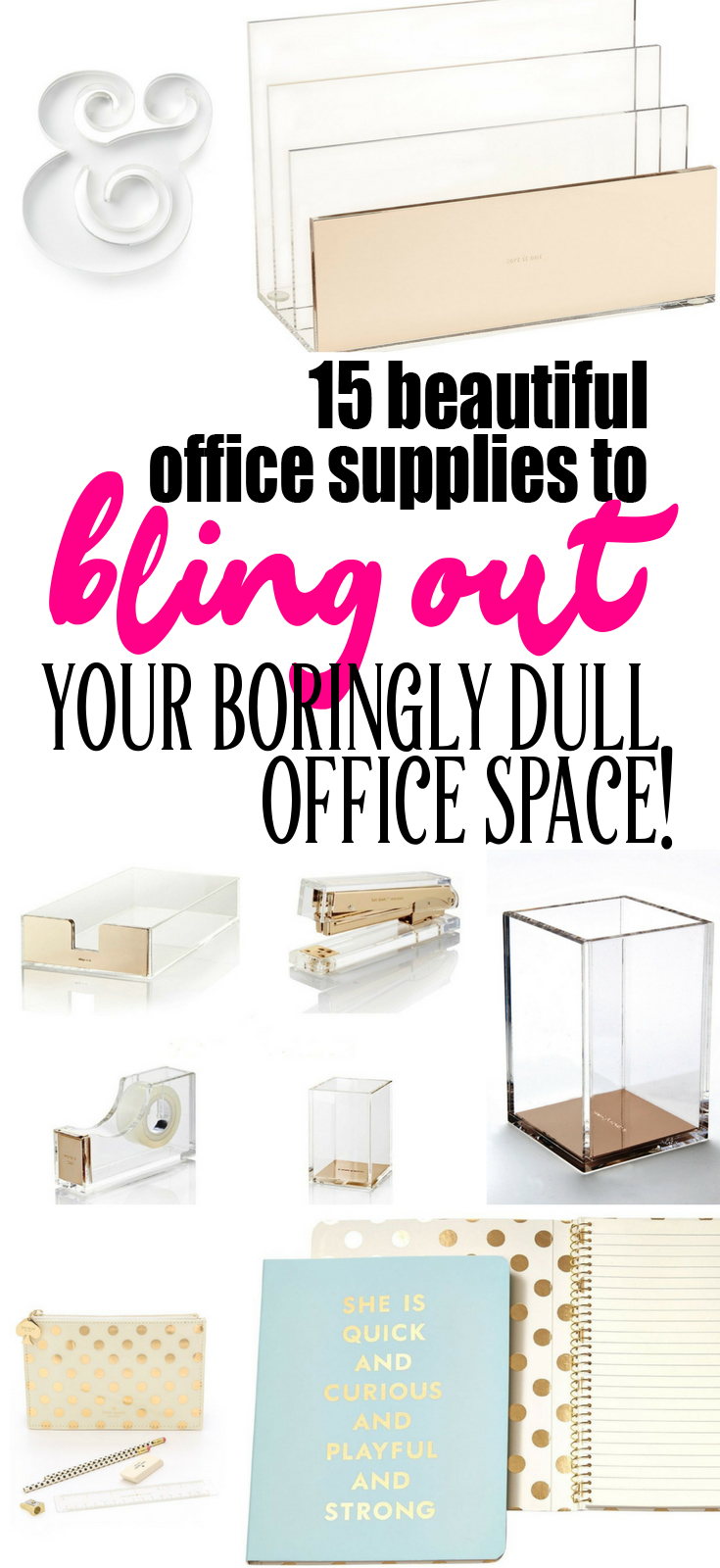 15 Beautiful Office Supplies to Bling Out Your Boringly Dull Workspace (especially for Uber Fans of Kate Spade!) | I'm such a sucker for beautiful things and, when it comes to the home office, I'm a LOLLIPOP for the office supply eye candy. There is nothing that makes me happier when I sit down to talk to you than having my gold stapler and tape dispenser just smiling back at me while I work. I have a long list of things that I want to jump on and adopt. This list of 15 is just the beginning.