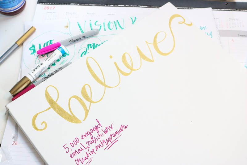 How to make your own hand-lettered vision board. If you know what you want and see it everyday, you'll be more likely to achieve your goals. Use this simple tutorial to make yours today!