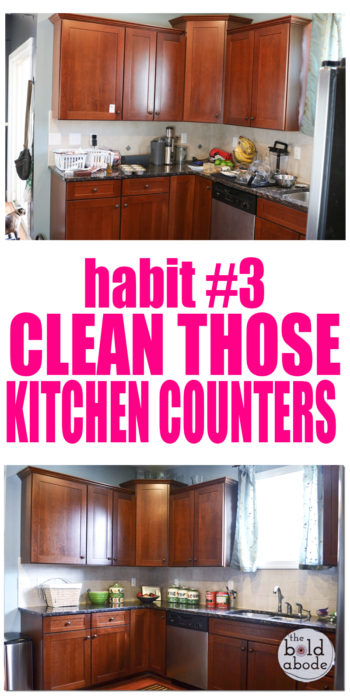 SELF CLEANING HOME PART 3: Let's get those ktitchen counters clean! Pop over for the entire series and start small habits that will make your home feel like it cleans itself!
