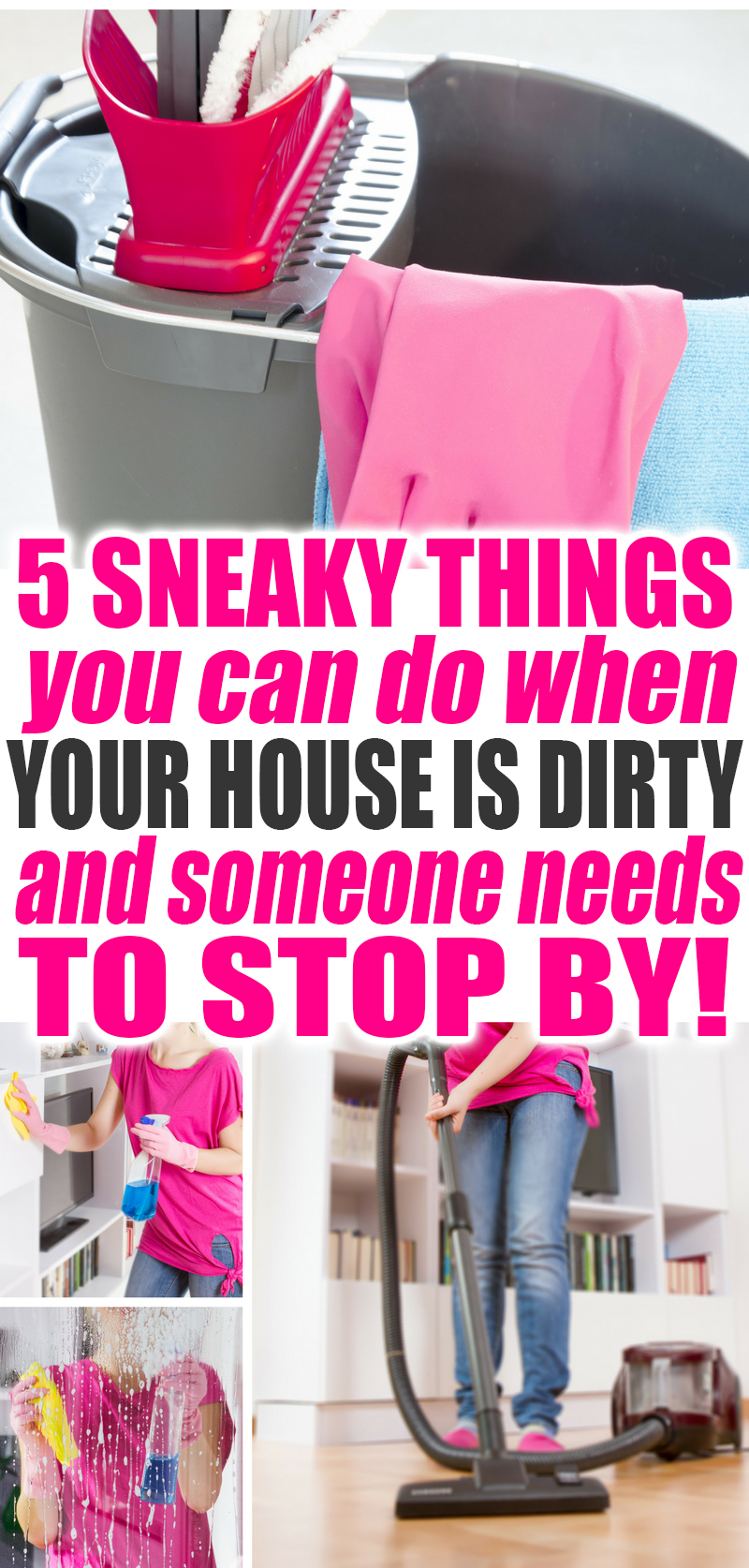 5 SNEAKY Cleaning Tricks You Can Do When Your House is Dirty and Someone Needs to Stop By! Use these tips to make it seem like you are busy getting it done! Cleaning | Cleaning Tips | Cleaning Tricks | House Keeping | Cleaning Ideas