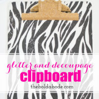 Glitter and DecouPage Clipboard