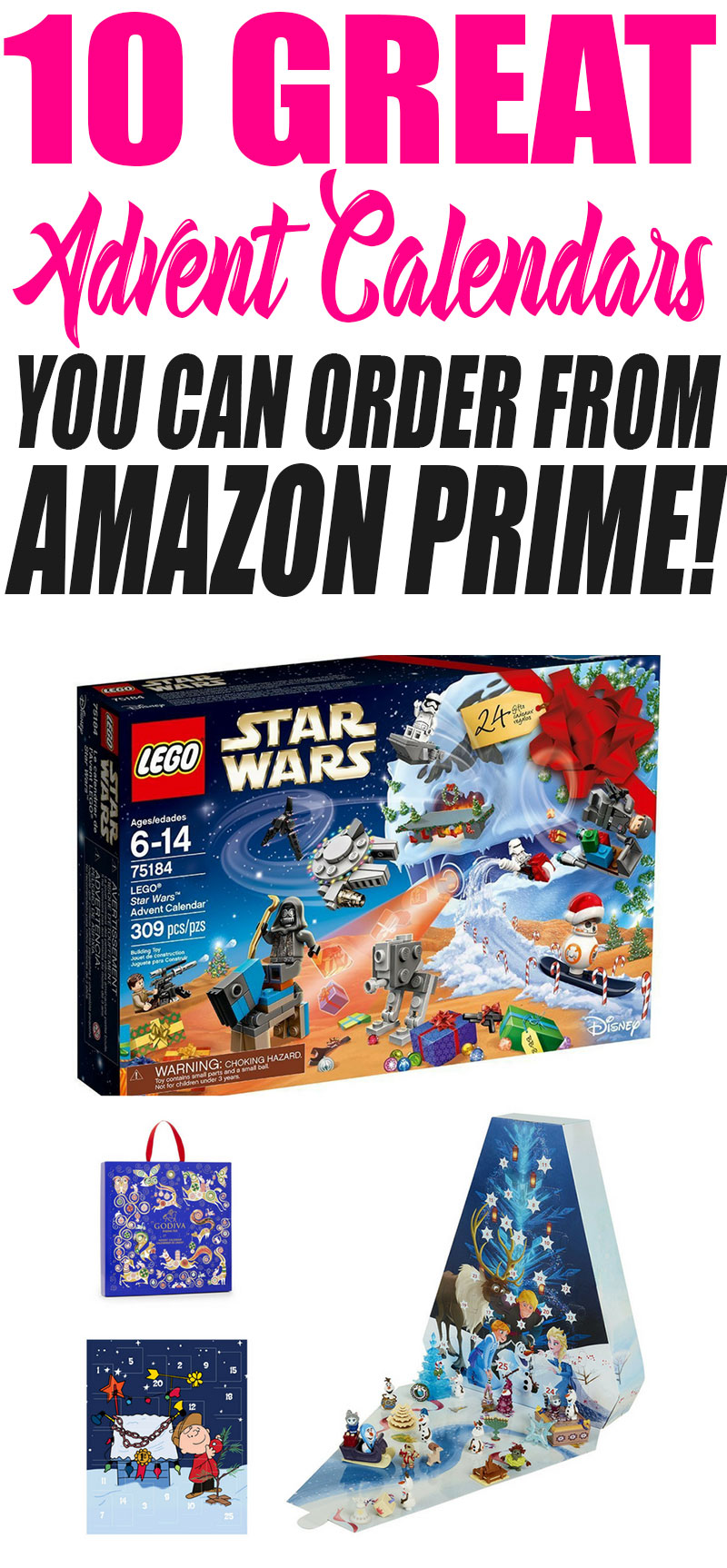 10 awesome advent calendars you can order from Amazon Prime! Make the holiday super fun by having a special treat each and every day! HOW FUN IS THAT LEGO STAR WARS ONE? Christmas will be even more awesome with one of these fun advent activities!