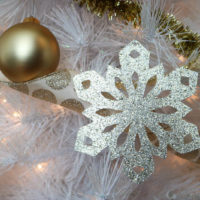 Gold Foil and Glittery Paper Snowflake Ornaments