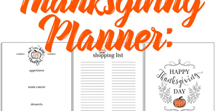 Thanksgiving Planner: Menu, Shopping List and Decorative Printable