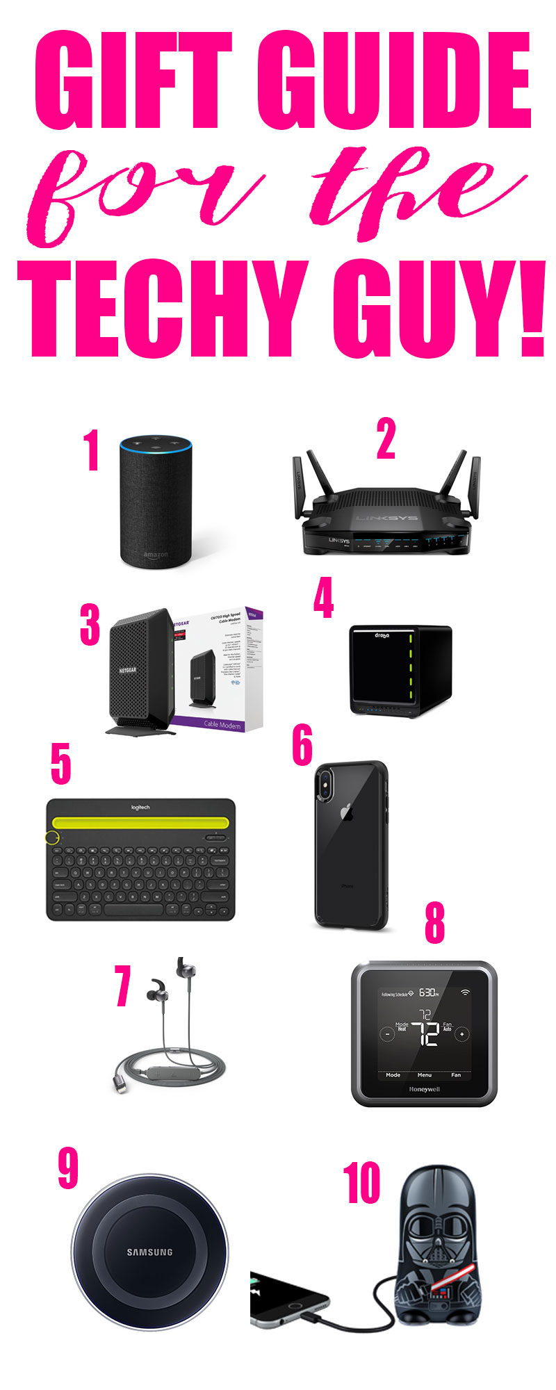 Gift Guide for the Techy Guy! Do you have a techy guy to buy for? Here are 10 ideas straight from the wishlist of my techy guy! #christmas #giftguide #techygifts #electronics #christmasgifts #christmaspresents