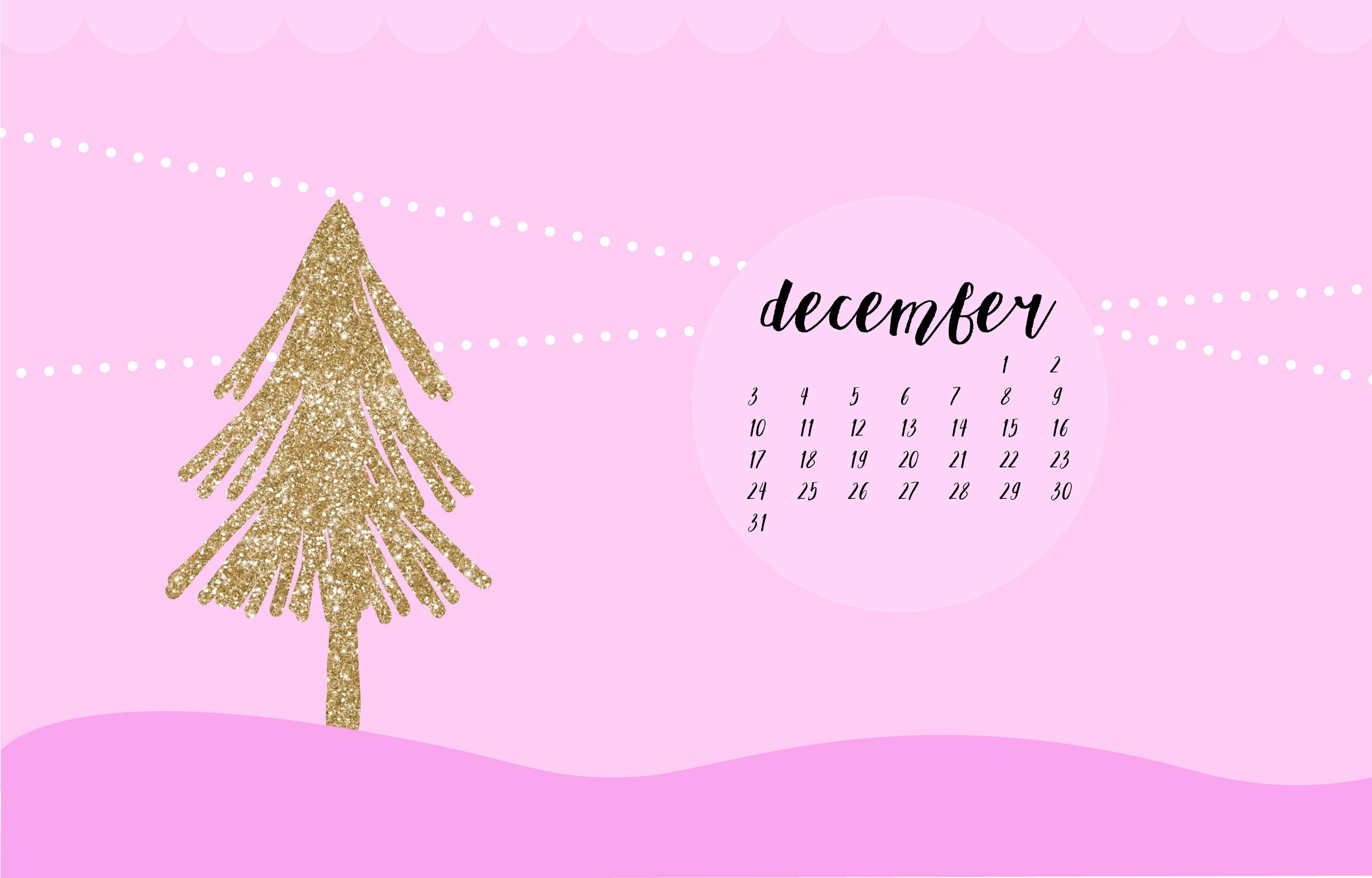 Digital Christmas Wallpaper Glittery Christmas Tree Pink Fantasia