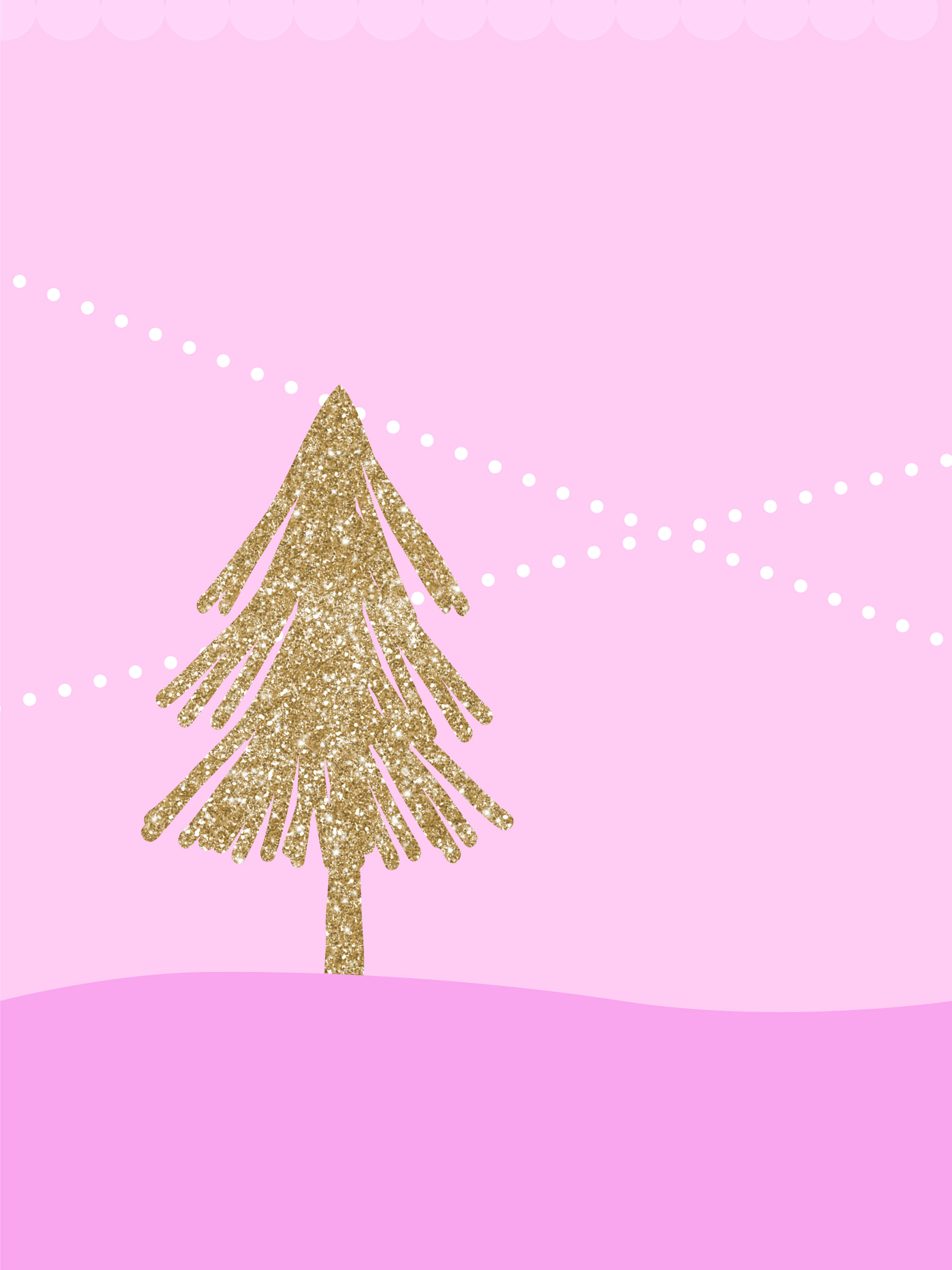 Digital Christmas Wallpaper Glittery Christmas Tree Pink